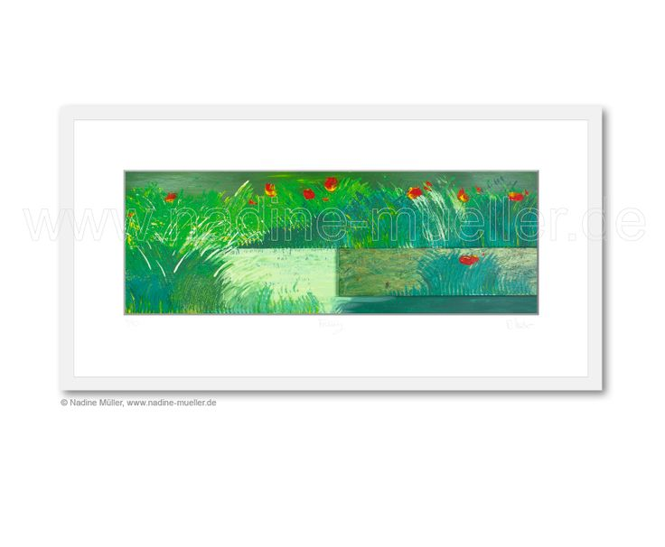 """Im Frühling auf der Wiese"", Digigraphie® auf Büttenpapier, 60 x 30 cm (Holzrahmen), Bildgröße 48x16 cm und 40x20 cm (Holzrahmen), Bildgröße 32x11 cm, limitierte Auflage: je 10 Stück, nummeriert, signiert, inkl. Zertifikat ---------- ""Im Frühling auf der Wiese"", Digigraphie® on handmade paper, in two formats, white wooden frame: 60x30 cm (image size 48x16 cm) and 40x20 cm (image size 32x11 cm), limited edition: each 10 pieces, numbered, signed, incl. certificate. Infos: artwork@msk-media.com"