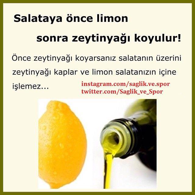 Salatalara önce limon sonra zeytinyağı koyarsanız limon sebzelerin içine işler. #sağlıklıbeslen #saglik #fitness #egzersiz #motivasyon #spor @hergun1yenibilgi @hergun1yenibilgi