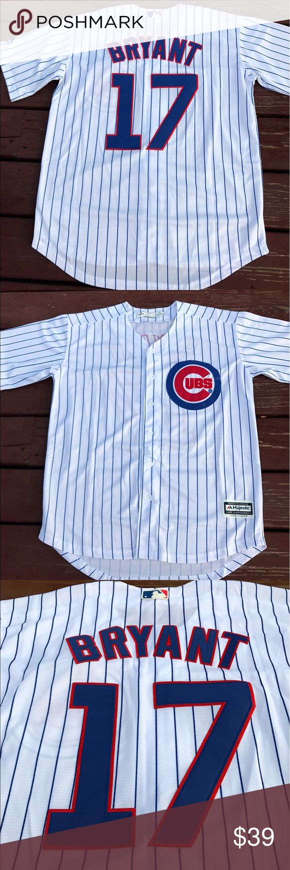 Men's Chicago Cubs Kris Bryant Home Jersey (M) Men's Kris Bryant  Chicago Cubs Home Jersey. Made by Majestic Athletic, brand new with tags, fully embroidered size Medium Cool Base jersey.       I closed my retail location and am liquidating my entire inventory. Over 300 jerseys available! Rizzo. Bryant. Sandberg. Dawson. I've got em. Men, Women and kids! Majestic Shirts Casual Button Down Shirts
