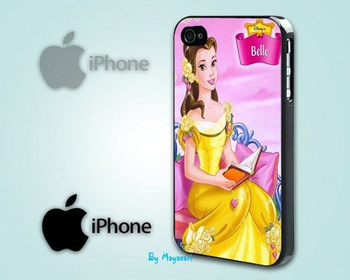 """Belle - Princess Disney Print on Hard Plastic For iPhone 5 Case, Black Case  This case is available for: iPhone 4/4S iPhone 5/5S iPhone 6 4.7"""" screen Samsung Galaxy S4 Samsung Galaxy S5 iPod 4 iPod 5"""