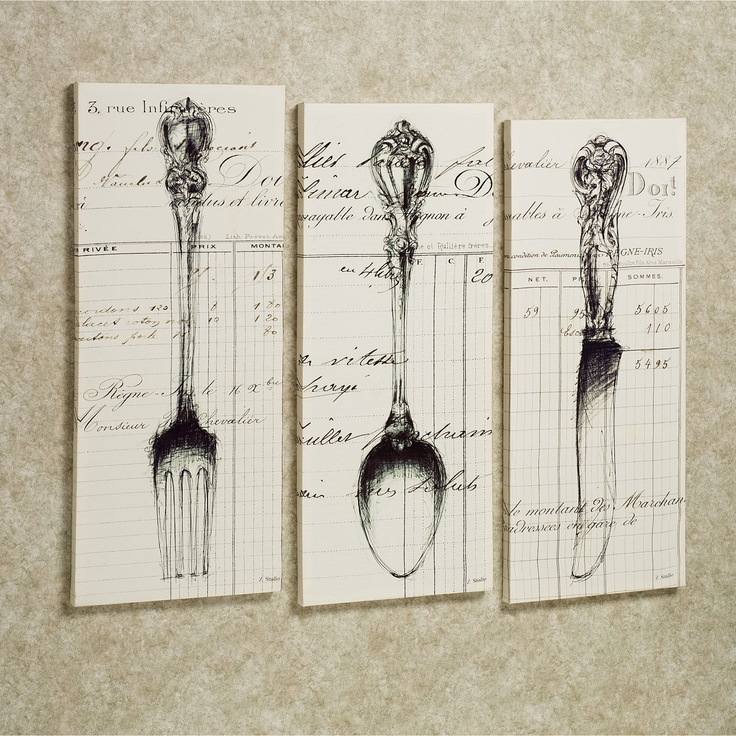 Large Knife Fork And Spoon Wall Decor : Spoon knife fork canvas art set light cream of three