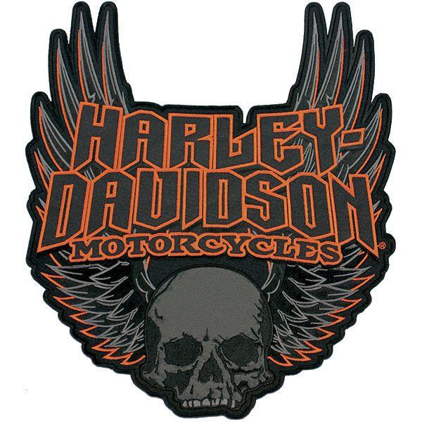 Harley-Davidson Aufnäher/Emblem GOTHIC WINGS Patch Skull *EM108307* groß