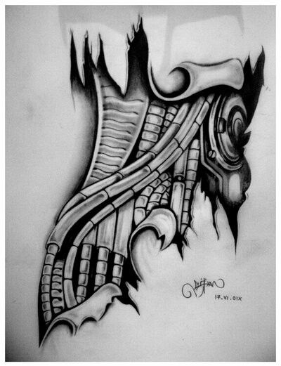 73 best bionic tattoo images on pinterest tattoo designs for Biomechanical hand tattoo designs