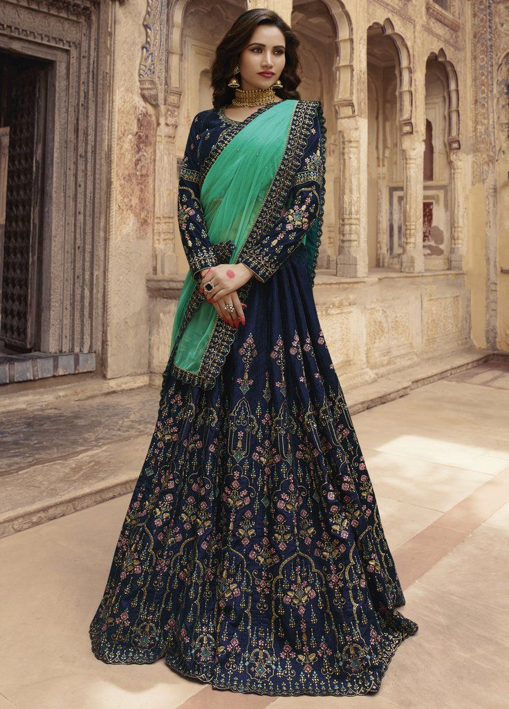 3ea99158ad Navy Blue Embroidered Velvet Designer Lehenga Choli (Semi-Stitched) # lehengacholi #lehenga #lehengas #choli #blouse #Bridal #designer #zari  #emroidered ...