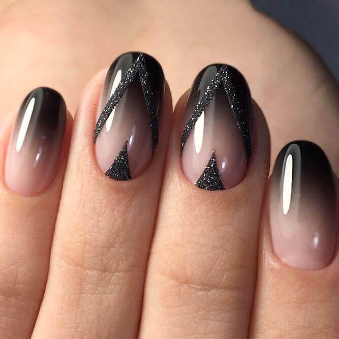 50 Stunning Acrylic Nail Ideas To Express Your Personality Sophisticated Glitter Black Satin Art Naildesign Acrylicnail Nailideas Nailpolish