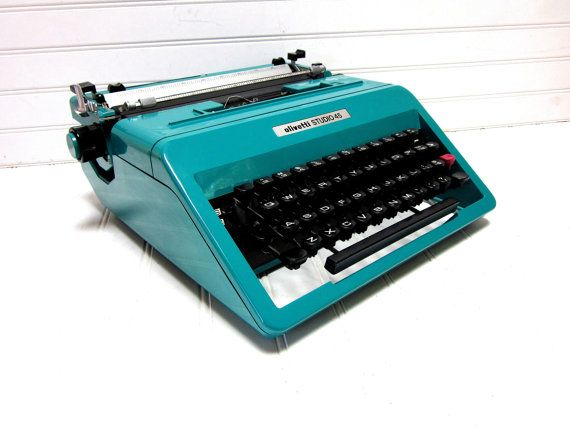 SALE Vintage Typewriter Teal Blue Olivetti by GoodBonesVintageCo, $190.00