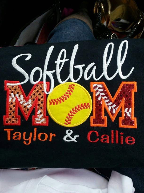 Personalized Softball MOM shirt.  You pick the colors, team name, or name/number.  House divided softball shirts.. $30.00, via Etsy.