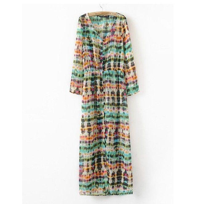 Sexy Bohemian Style Printed Cardigan Long-Sleeve Chiffon Dress