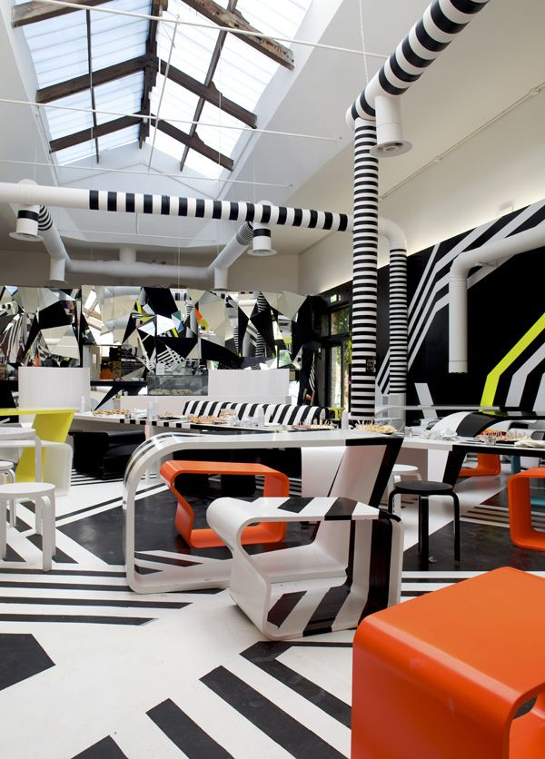 cool cafeteria designed by Tobias Rehberger in collaboration with Finnish furniture Artek