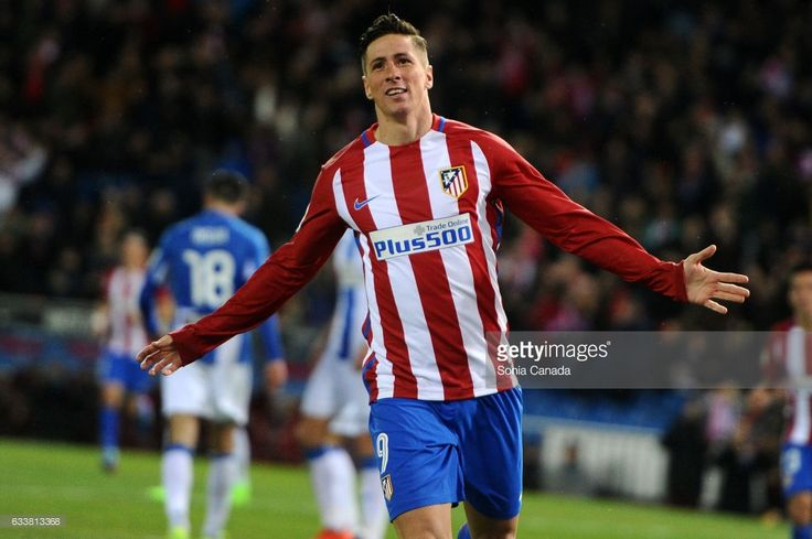Fernando Torres, #9 of Atletico de Madrid celebrates after scoring his team's second goal during The La Liga match between Atletico Madrid v CD Leganes at Vicente Calderon on February 04, 2017 in Madrid, Spain.