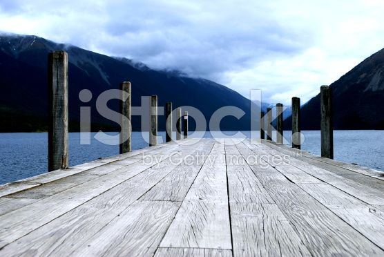 Moody Pier on Lake royalty-free stock photo