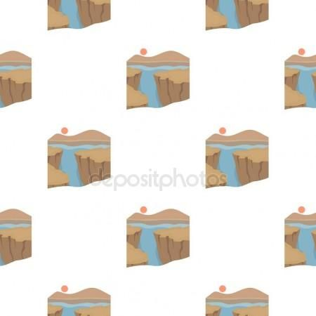 Gran Cañón icono en estilo de dibujos animados aislado sobre fondo blanco. Ilustración de vector stock usa país patrón Ilustración De Stock