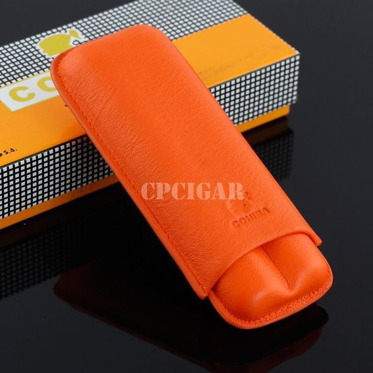 COHIBA Beautiful Soft Leather Cigar Case 2 Tubes Holder Portable Travel Humidor W/ Gift Box