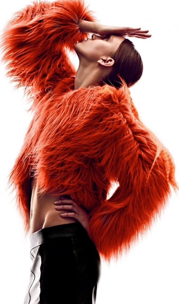 Bright FURS Neon (ish) Orange / Reddish Cropped Fur Jacket with a solid pose to go along -  #karinarussianpowpow