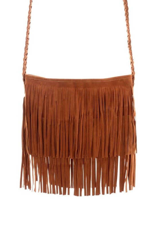 Camel Fringe Knit Strap Shoulder Bag