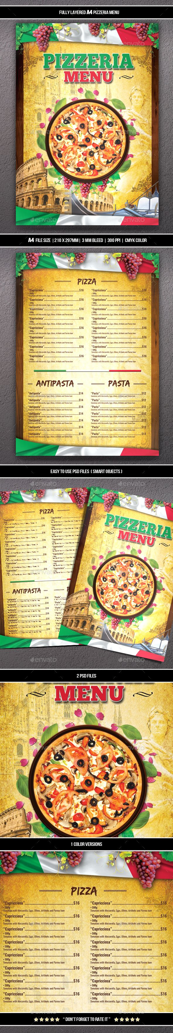 #Pizzeria Menu 2 (A4) - #Food Menus Print Templates