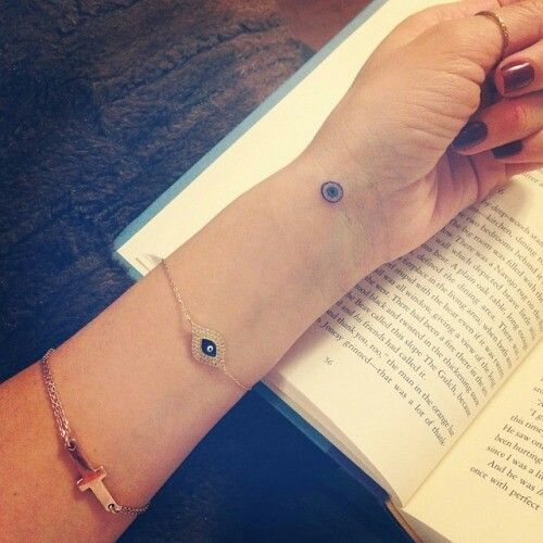 A simple small evil eye tat would be okay. I just love the evil eye simbol. Its for pertection.