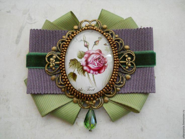 """Купить Брошь-орден """"Нежность розы"""" - салатовый, брошь, брошь ручной работы, брошь роза"""