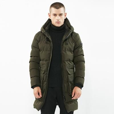 KENNTRICE Jackets Men Parka Winter Coat Men Long Trench Mens Parka Jacket Quilted Coat Warm Hooded Jacket Male Army Green Black