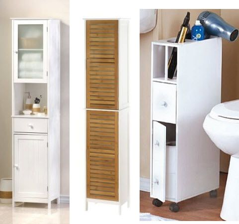 Small Storage On Wheels For Bathroom | Narrow Bathroom Cabinets Pictured: