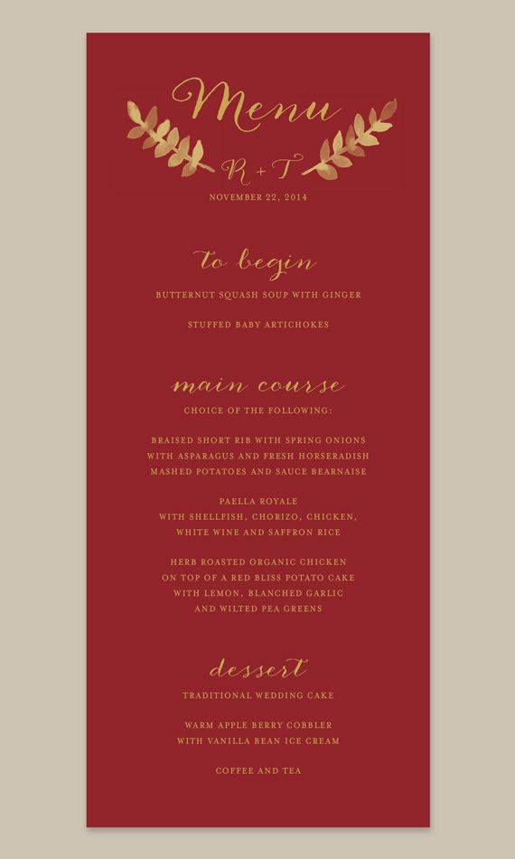 Cranberry and Gold Wedding Menu by Leveret Paperie