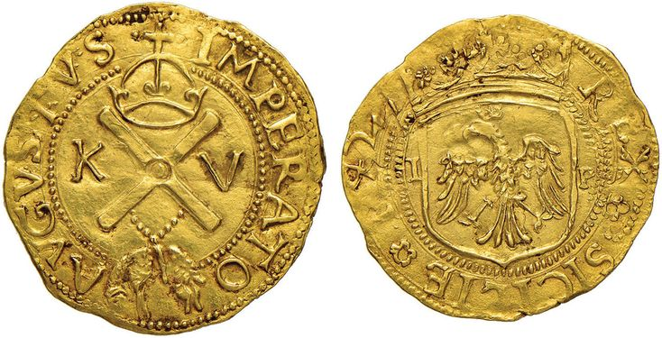 NumisBids: Nomisma Spa Auction 50, Lot 128 : MESSINA Carlo V (1516-1556) Scudo d'oro 1542 – Spahr 118/120; MIR...