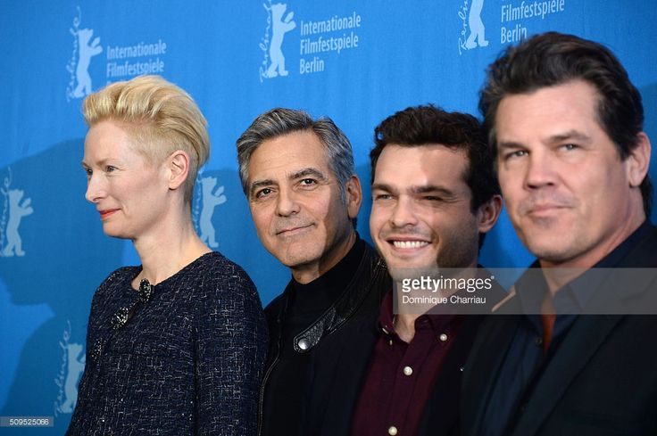 Actors Tilda Swinton, George Clooney, Alden Ehrenreich and Josh Brolin attend the 'Hail, Caesar!' photo call during the 66th Berlinale International Film Festival Berlin at Grand Hyatt Hotel on February 11, 2016 in Berlin, Germany.