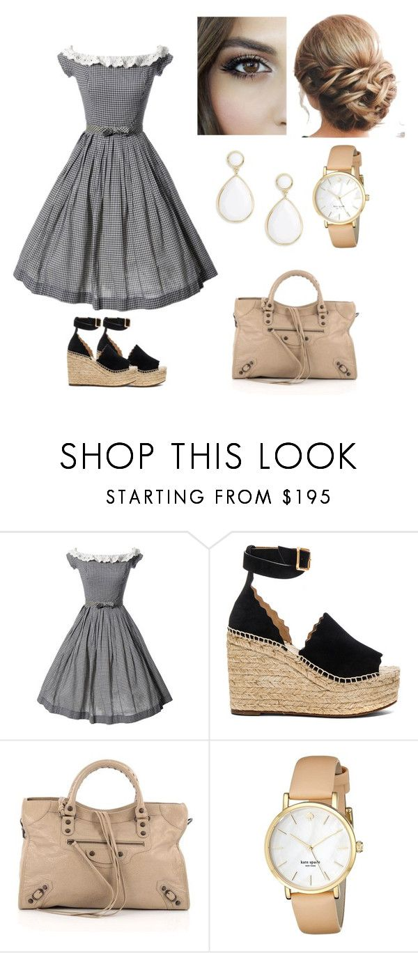 """Summer office look"" by onelittleme ❤ liked on Polyvore featuring Chloé, Balenciaga, Kate Spade and Trina Turk"