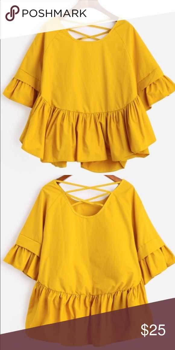 LAST CHANCE!!! Lattice-back frill sleeve smock top Polyester yellow one size bust 102cm length 64cm sleeve 40cm never worn Tops Blouses