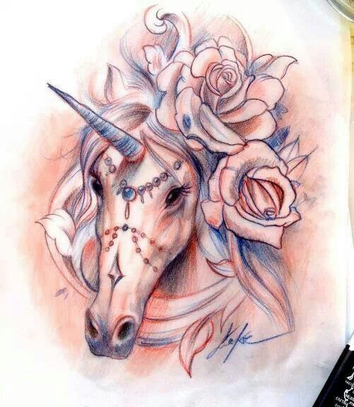 realistic unicorn tattoo - 501×576