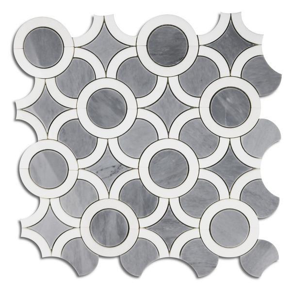 White Thassos & Gray Marble Waterjet Tile Luxus Mosaik – TileBuys #luxurygreybathrooms
