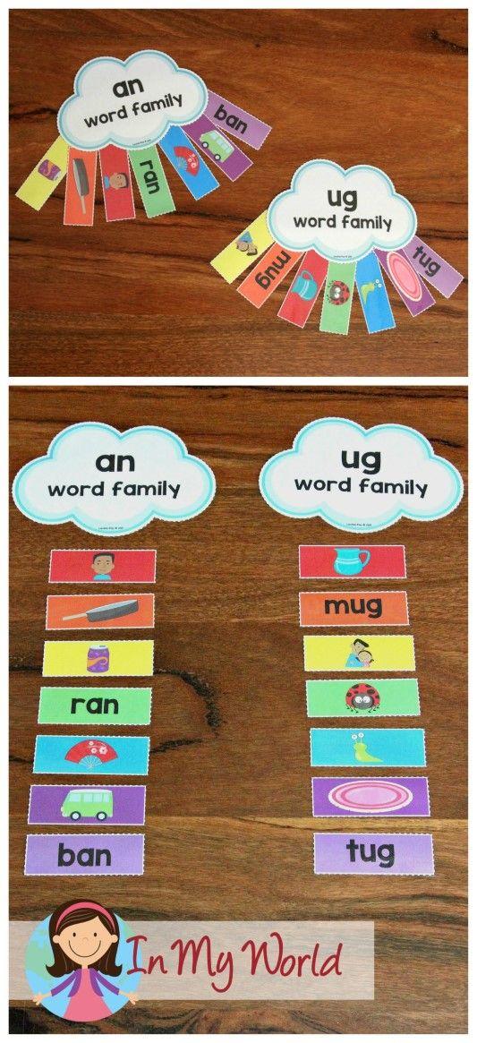 FREE St. Patrick's Day Preschool Centers Word Family Rainbow Sorting