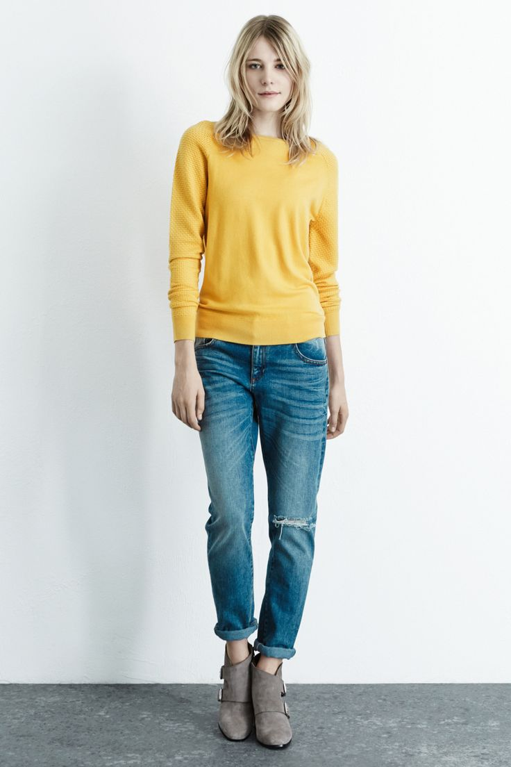 Cardigans   Yellow Textured sleeve jumper