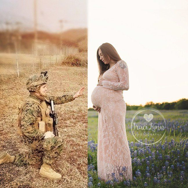 Since Nicole's husband Wesley is deployed, the expectant mom hired Traci of Traci Lynn Photography to capture maternity, birth, and hospital sessions during her pregnancy and delivery. Understanding what a bittersweet time this was for the couple, Traci came up with a way to include Wesley - despite the 7,000 mile distance - since he wasn't able to physically be there with his wife for the birth. In order to achieve their military-inspired vision, Nicole utilized his photo and dog tag...