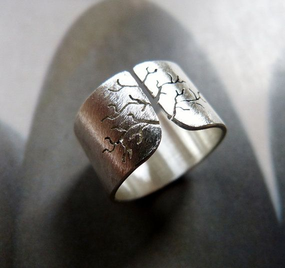 Handmade Sycamore tree ring sanded Sterling Silver ring, wide band ring, metalwork jewelry by Mirma