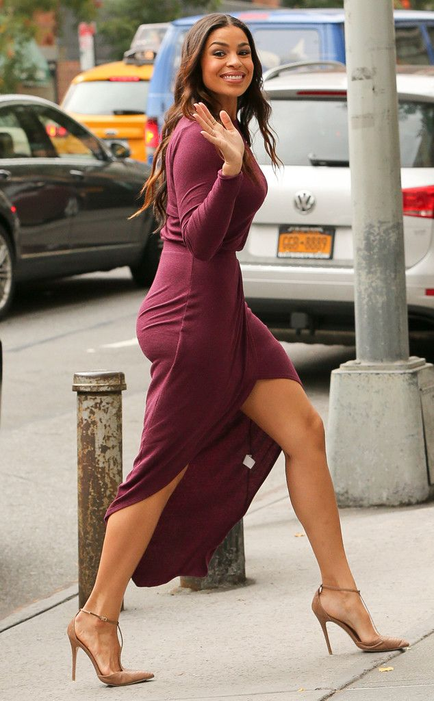 Pretty in plum! Jordin Sparks looks hotter than ever while stepping out in NYC.