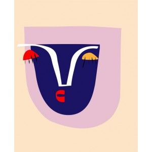 Available to buy online at everythingbegins.com.  Abstract Portrait silkscreen print.  Also available as a limited edition giclee print