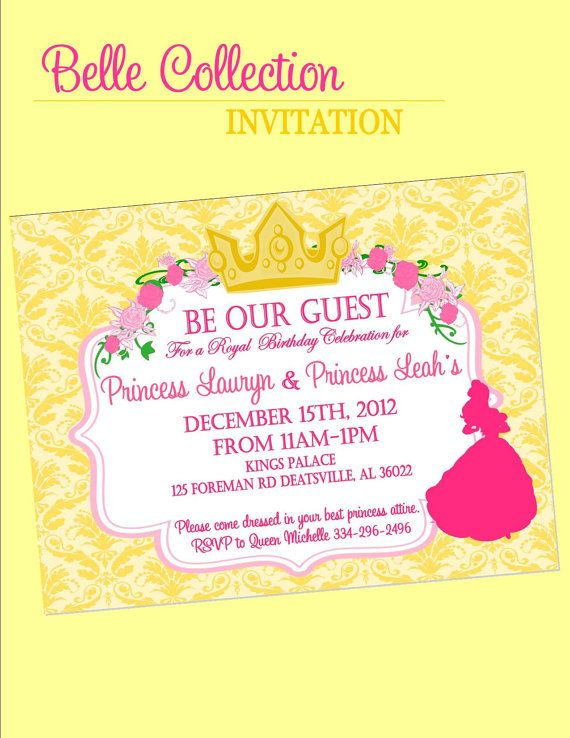 BEAUTY and the BEAST Party - INVITATION - Disney Princess Party - Belle Party - Party Printables - Girls Birthday Party - Bridal Shower
