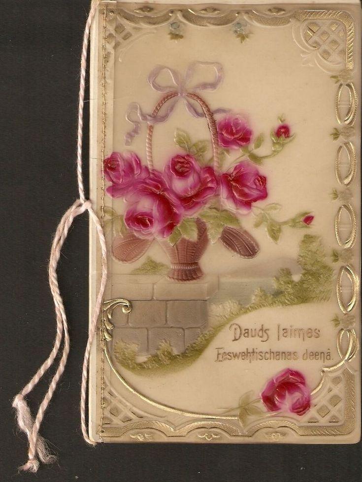Leton carte postale Lettonie Joyeux lundi de Pâques Lot de bonne fortune fleurs