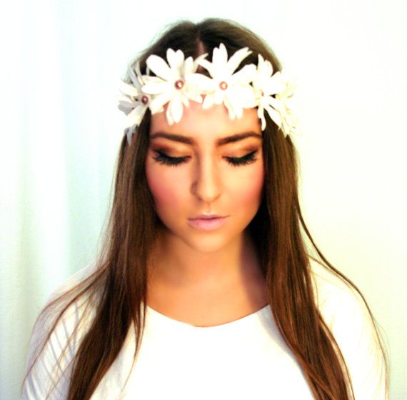 Pink/Rose Pearls Embellished Daisy Flower Crown- Flower Headband, Daisy Headband, Festival Headpiece Daisy Halo, EDC, Hippie Headband via Etsy