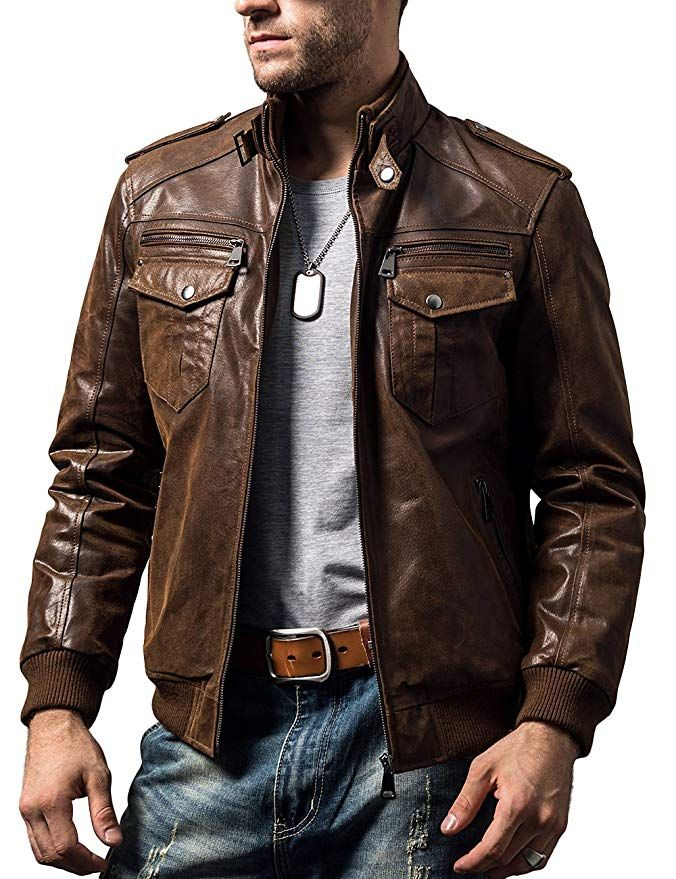 Flavor Men Biker Retro Brown Leather Motorcycle Jacket Genuine