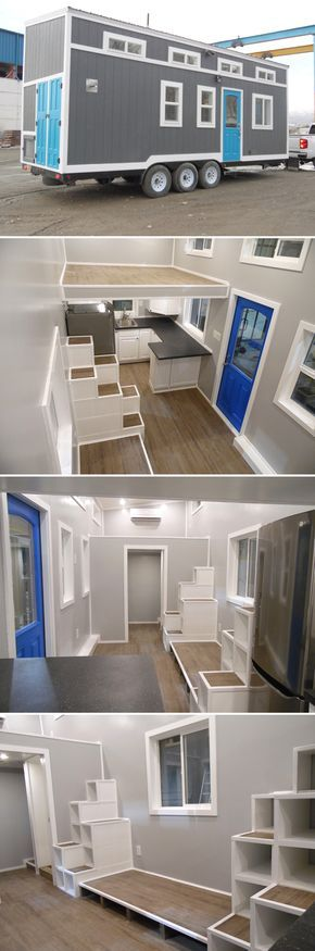 This 26-foot tiny house has two large bedroom lofts with storage stairs leading to each loft. It's a great option for a family of three or four.