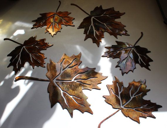 Metal wall art leaves set of 4 by heavensgatemetalwork on for Metal leaf wall art