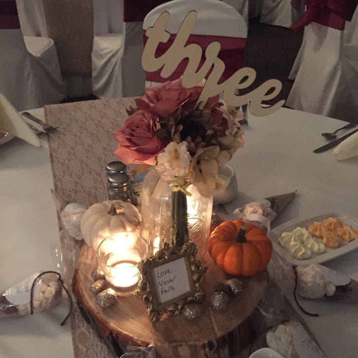 36 best upgraded centerpieces idea sharing images on pinterest beautiful client build centerpiece for a fall themed wedding mason jar on a log round junglespirit Image collections