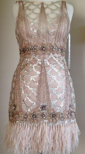Sue Wong 1920's Gatsby Beaded Sequin Ostrich Feather Flapper Evening Dress 10 | eBay