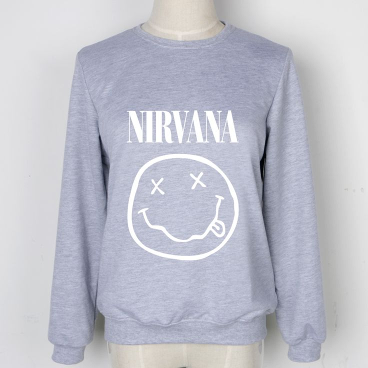Big Smile Pattern Women Sweatshirts NIRVANA Letter Print Hoodies Long Sleeve Big Size Tracksuits Grey Hooded Chandal Mujer Hoody