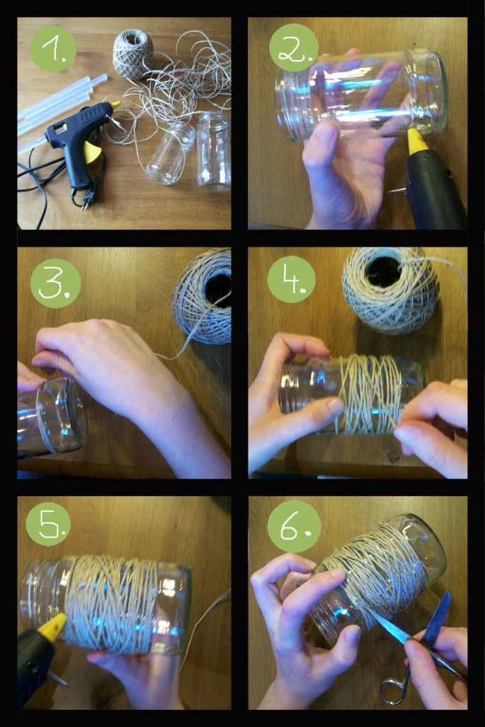 tutorial: how to make your own rustic centerpiece with mason jars and twine...another centerpiece idea. Would have to wrap pretty tight so it doesn't get messed up week to week