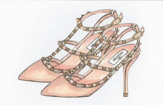 Valentino Rockstud Pump  8x10 Fashion Illustration by shopevarose