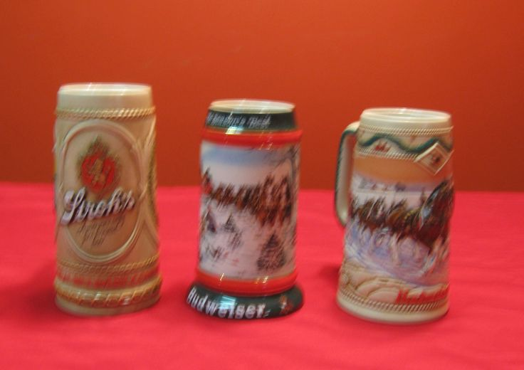 Vintage Budweiser Steins 1991 and 1996 and 1 Stroh's Stein, Selling as a Collection for the Stein Collector. by Lovingitstyles on Etsy