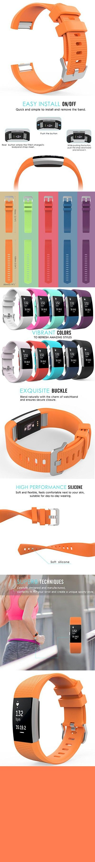 """Fitbit Charge 2 Band, MoKo Soft Silicone Adjustable Replacement Sport Strap Band for Fitbit Charge 2 Heart Rate + Fitness Wristband, Wrist Length 5.70""""-8.26"""" (145mm-210mm), ORANGE"""